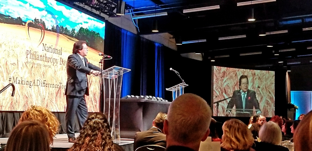 Donald Worme, QC, IPC, keynote speaker, 18th Annual National Philanthropy Day Celebration Luncheon, Saskatoon, Sk, November 15, 2018.