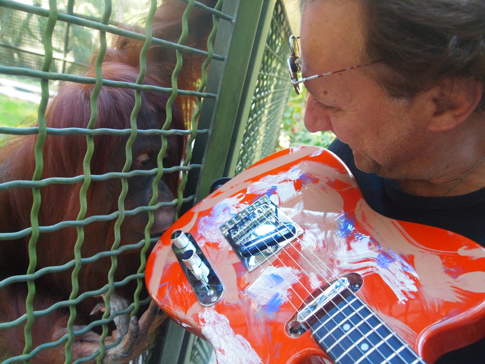 "Geri having a close up look at her original art work on a one of its kind guitar the ""Orangucaster"" that she, Popi and Louie, orangutans at the Center For Great Apes, painted on."