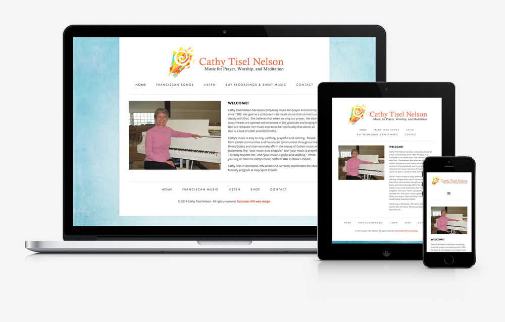Cathy Tisel Nelson Music responsive website design mockup