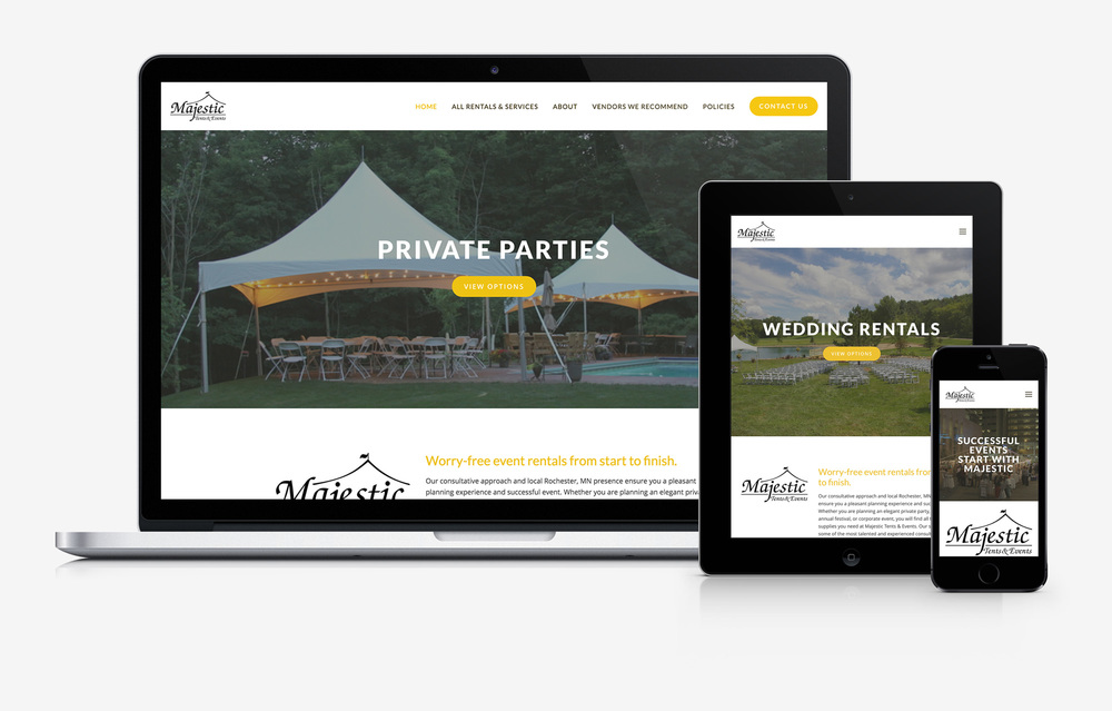 Majestic Tents and Events responsive website design mockup