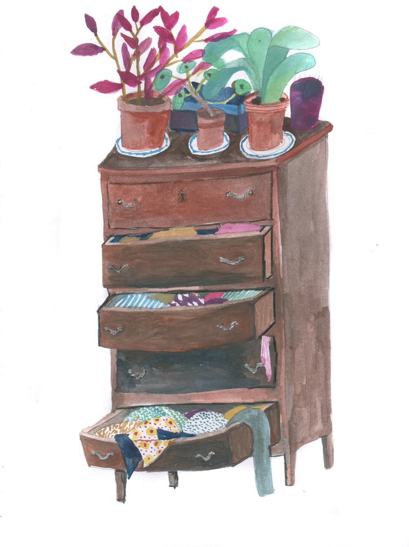Fridas dresser, gouache on paper, 17,5 x 25 cm, 2016