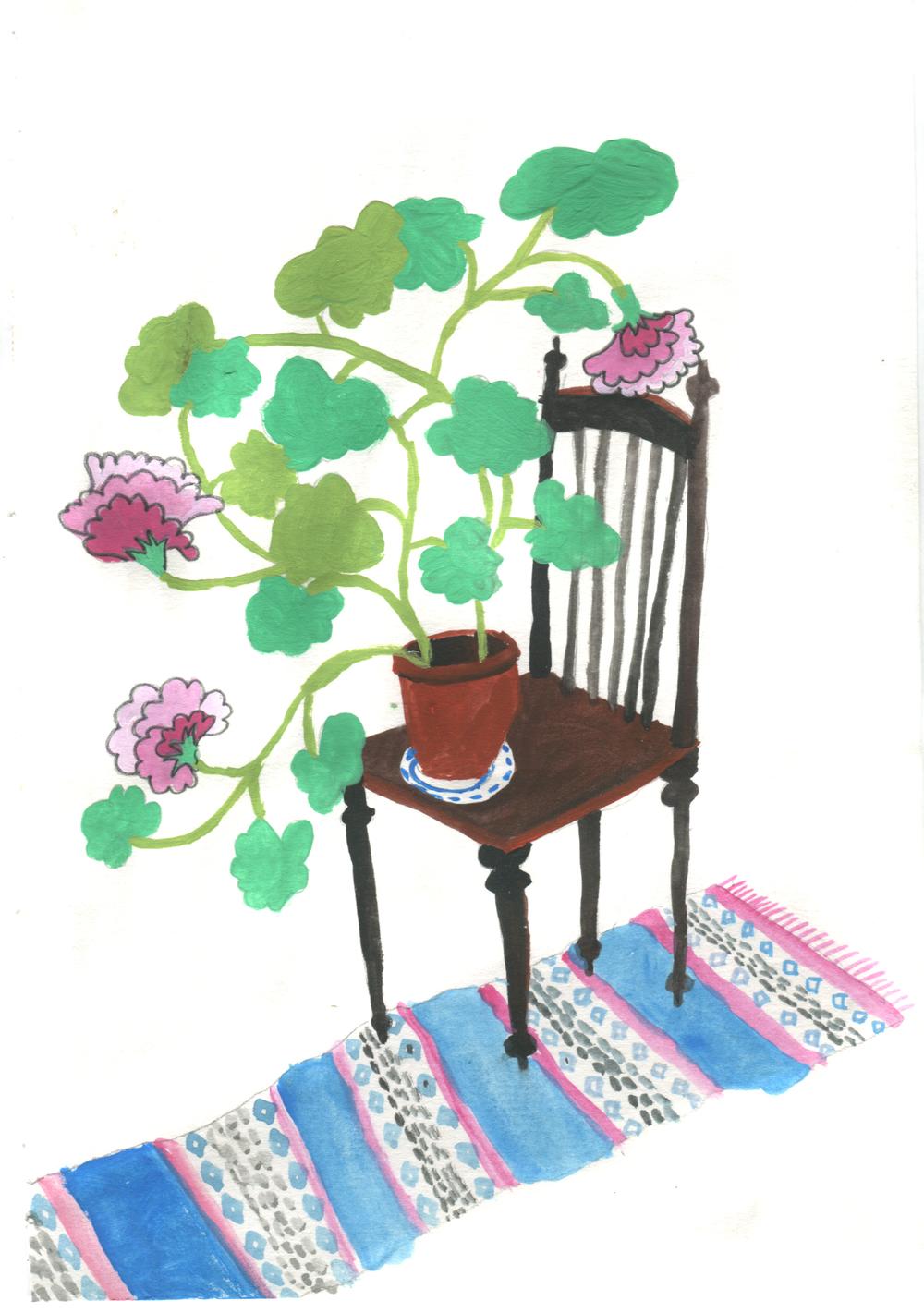 Plant on chair, gouache on paper, 14,5 x 21 cm, 2016