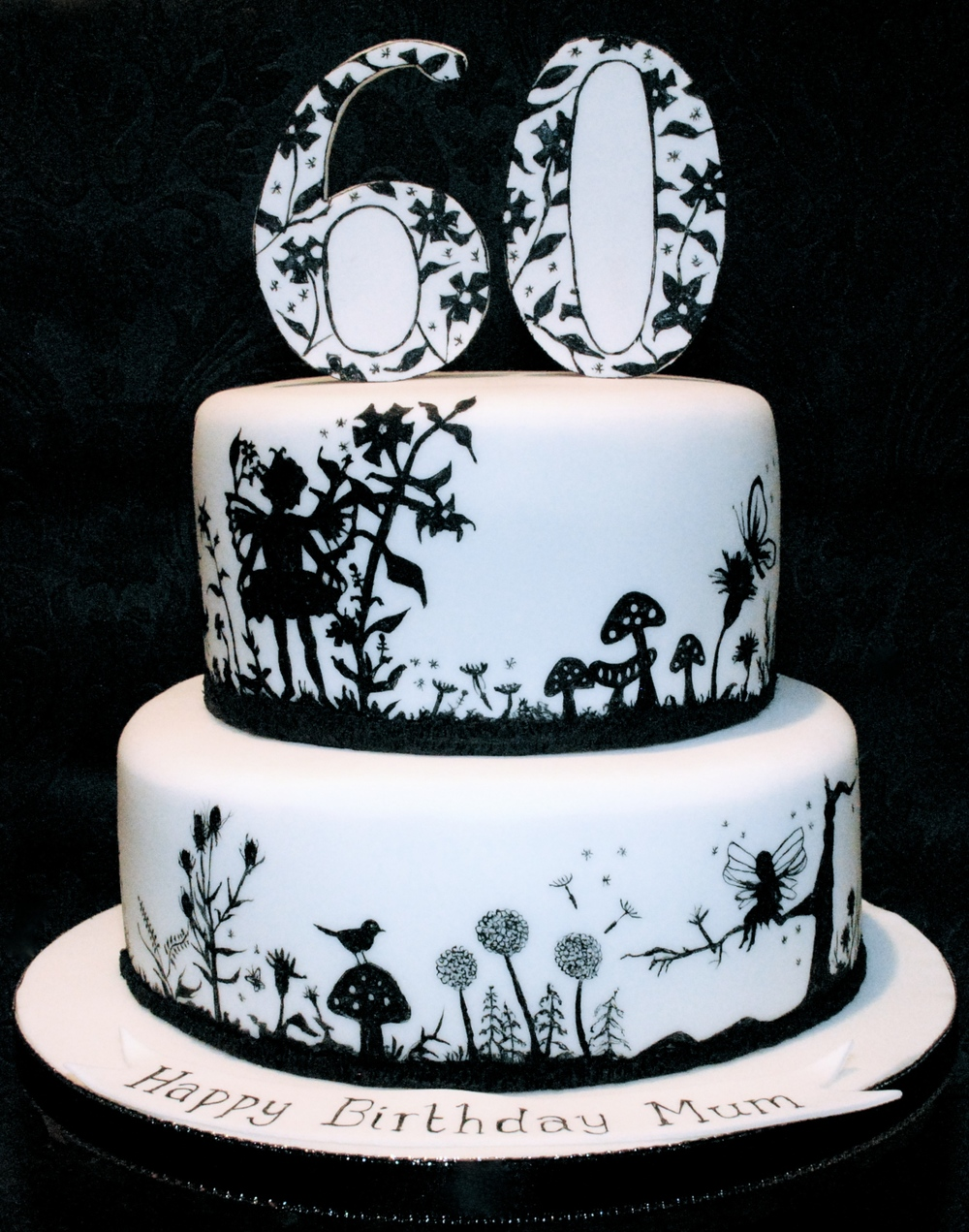 Silhouette Hand Painted Cake