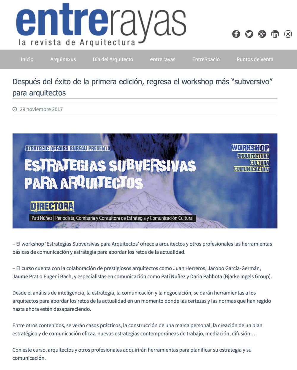 """Después del éxito de la primera edición, regresa el workshop más """"subversivo""""  - ENTRE RAYAS"""
