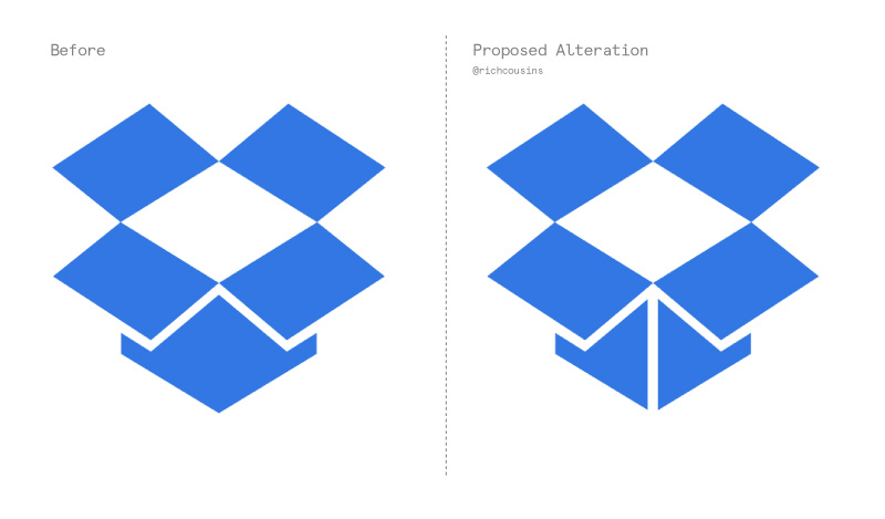 The other day, I stumbled across a simple tweak that Dropbox could make to their logo to give them a hidden message (much like Fedex). By illustrating the edge of the box simply with one extra line, you now have a subtle upwards arrow, emphasising Dropbox's upload/cloud-based services.