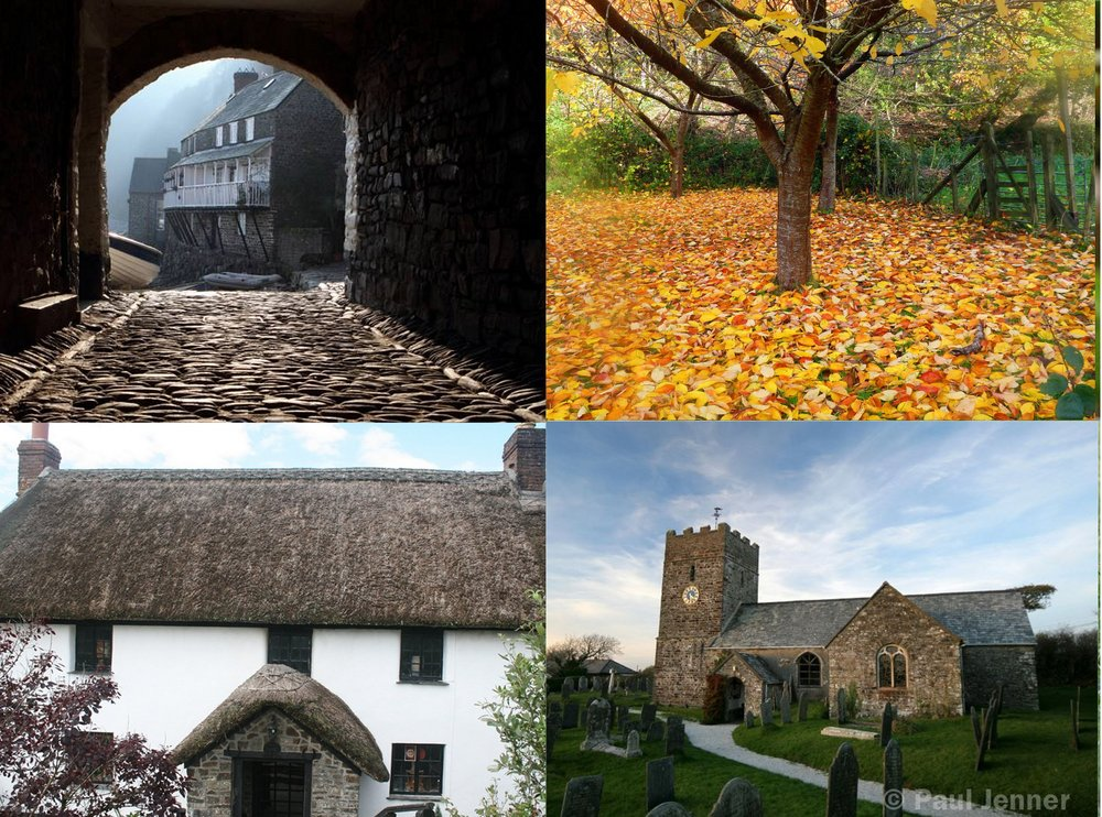 © Paul jenner photography - top left and bottom right   © Old smithy inn at welcombe - bottom left   ©  Antoinette Moat, Crenham Mill, Welcombe - Top right
