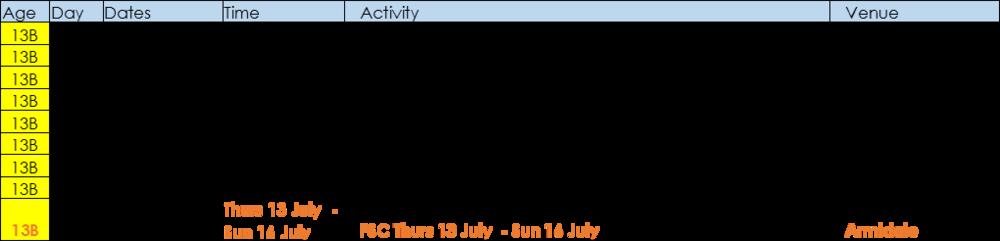 U13 Boys schedule 2017