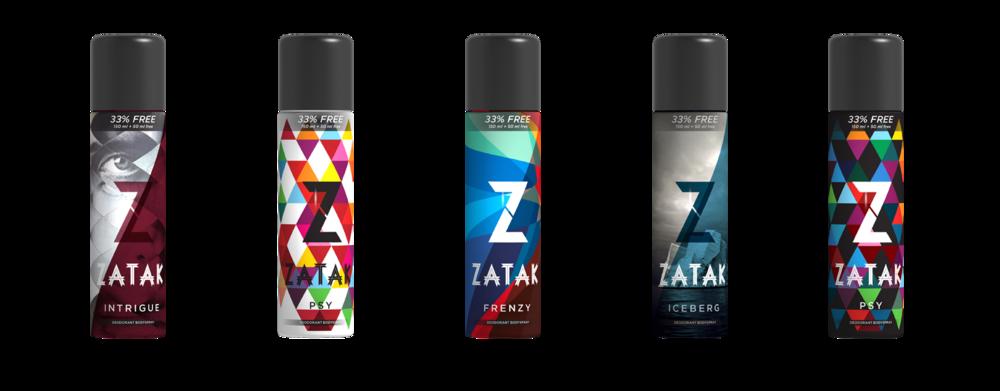 Packaging and rebranding of Zatak deodorants for Marico Ltd.