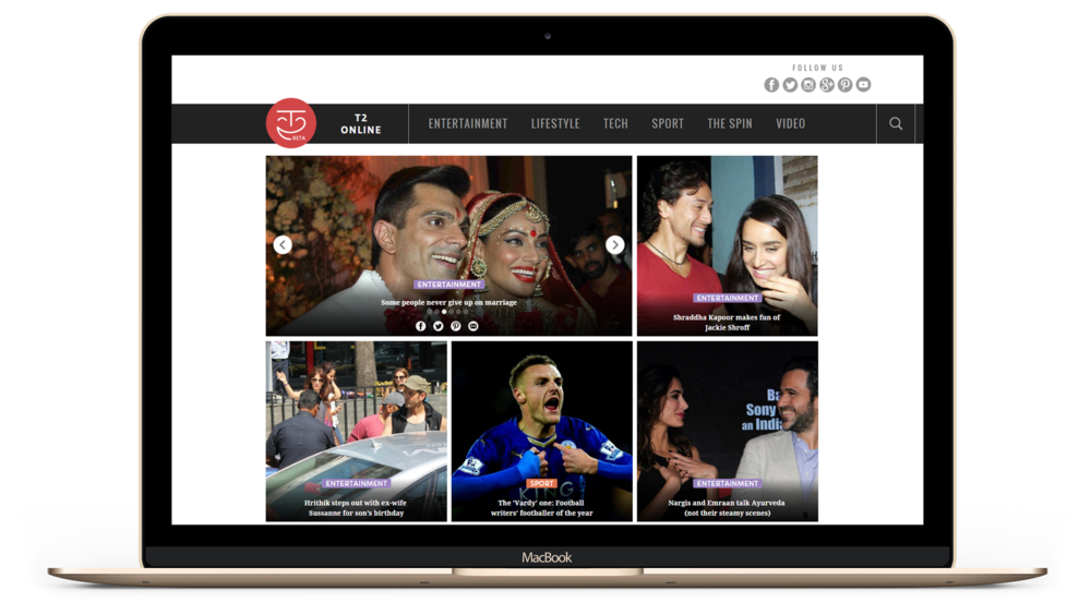 t2online - a responsive Entertainment News website - by Kiba Design