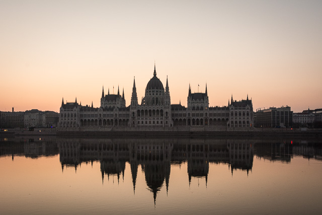 Sunrise over palace in Budapest