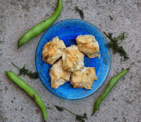Broad bean, feta and dill filo bites
