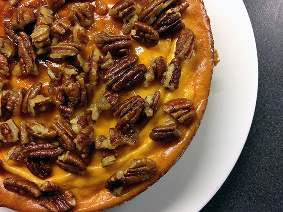 sweet potato cheesecake with caramelised pecan nuts