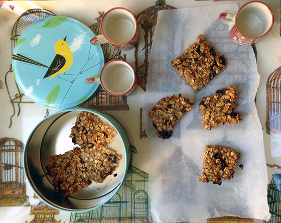 celeriac, apple and cherry flapjacks recipe