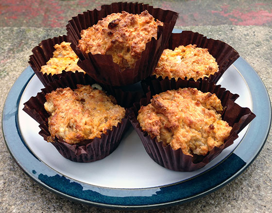 Smoky sweet potato and cheddar cheese muffins recipe