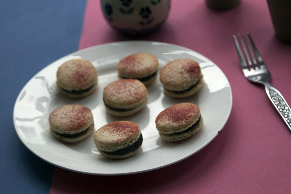 Chocolate and beetroot macarons