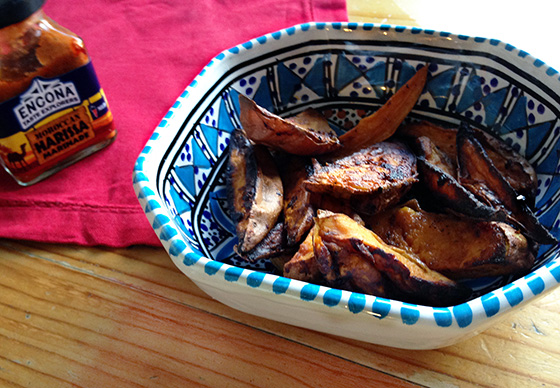 Easy harissa sweet potato wedges recipe