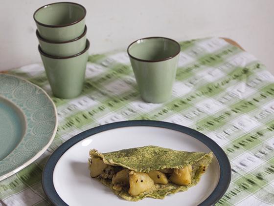 Spinach farinata crepe with masala dosa potatoes