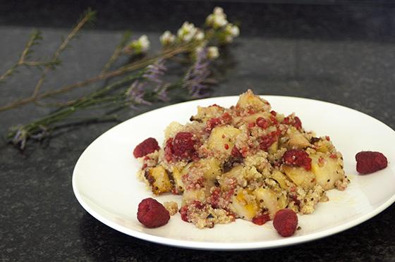 Celeriac, raspberry and quinoa