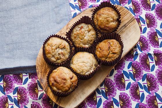 Vegan rhubarb and ginger muffins