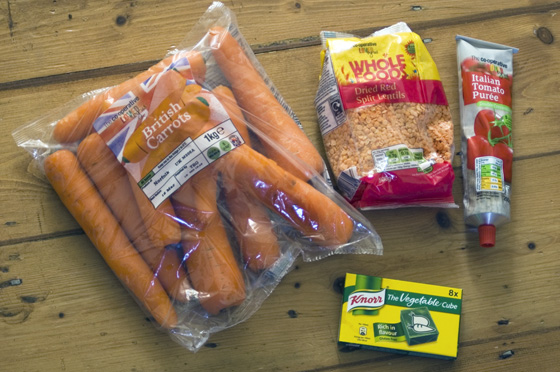 The ingredients for our carrot and cumin soup