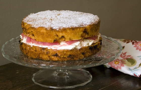 Rhubarb and custard cake recipe and Naked Cakes book review