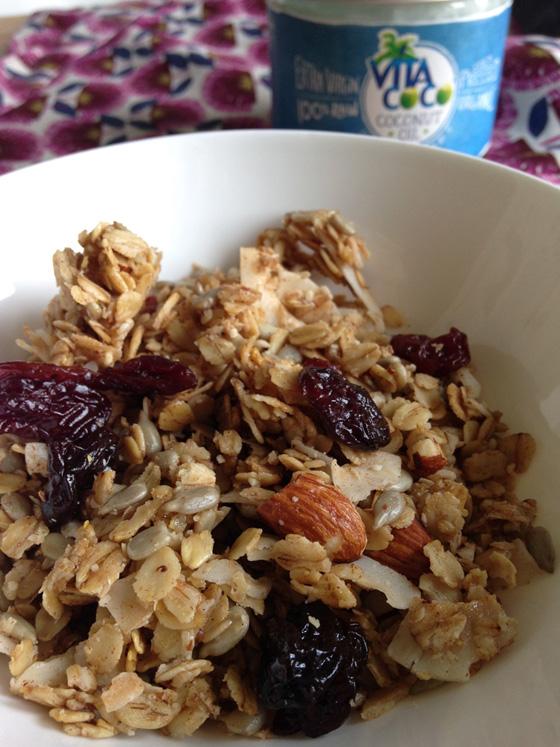 Cherry and coconut granola with Vita Coco coconut oil