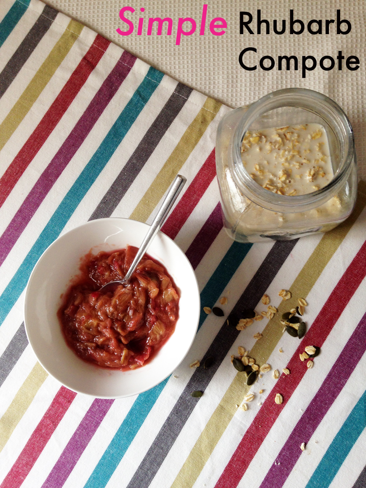 Recipe for simple rhubarb compote without refined sugar and suggestions for how to use rhubarb compote.