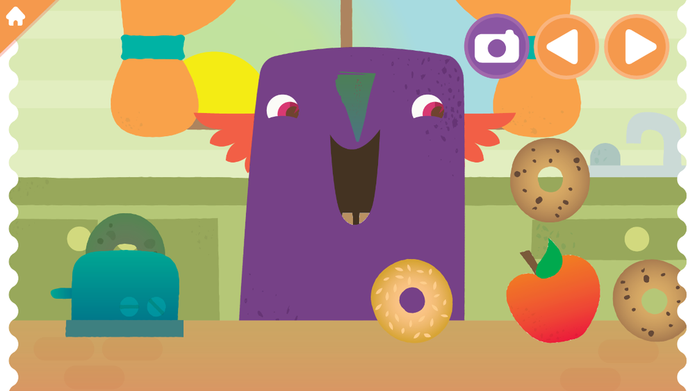 Children can feed a healthy breakfast to their monster in the game.