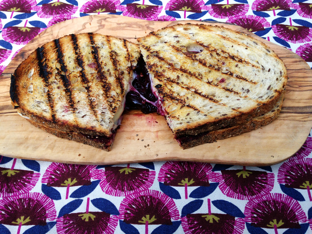 Cherry and Swiss cheese toastie with The Polish Bakery chia seeds bread