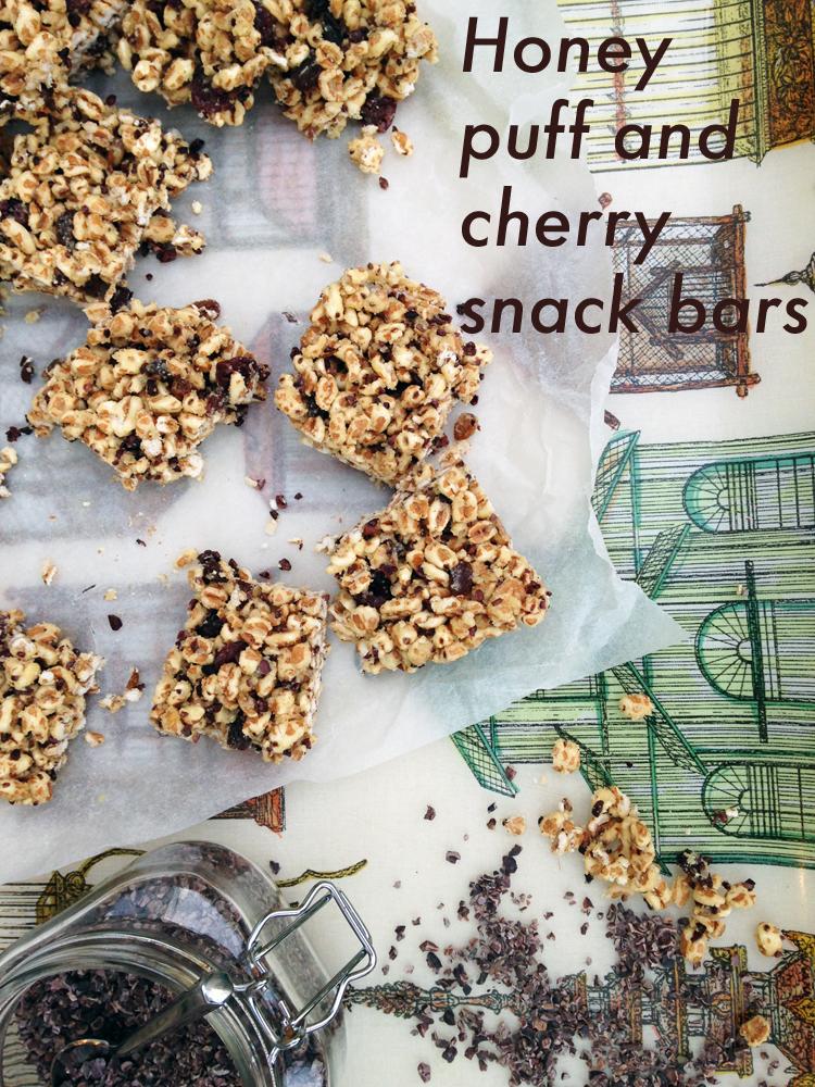 Honey puff and cherry freezer snack bars with Rude Health honey spelt puffs