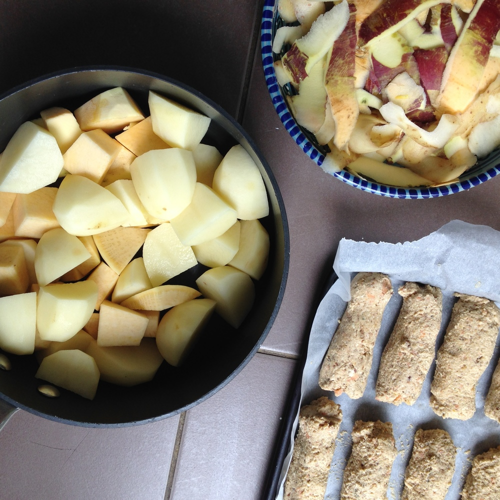 Homemade veggie sausages with swede and potato mash
