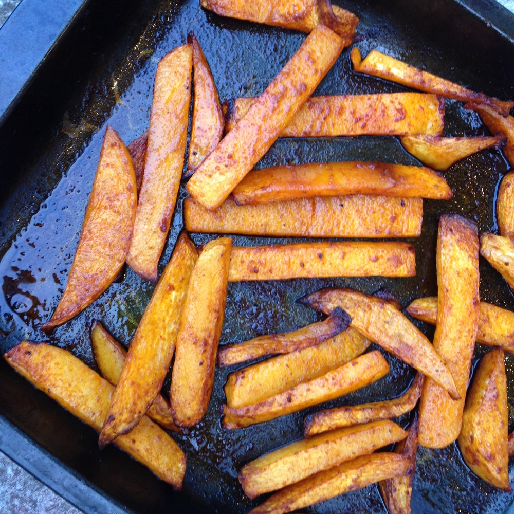 Swede and paprika wedges