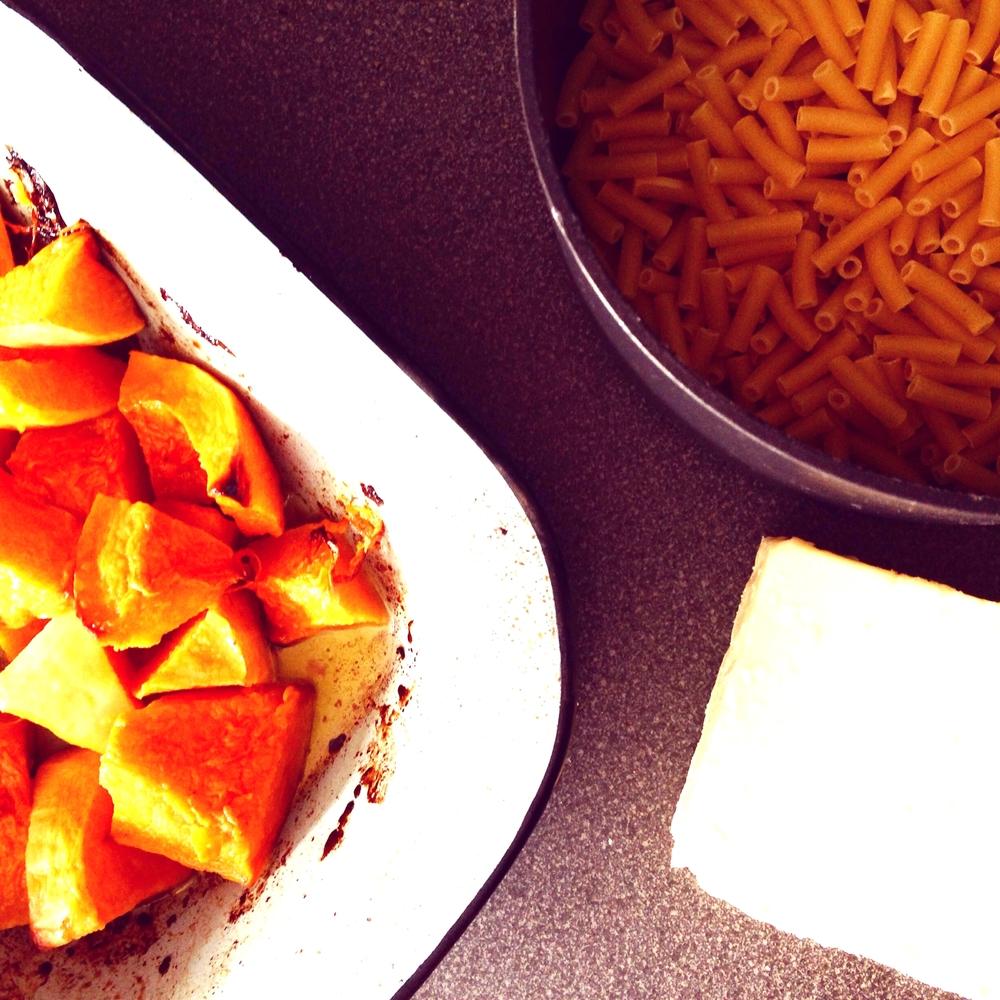 Macaroni cheese and butternut squash