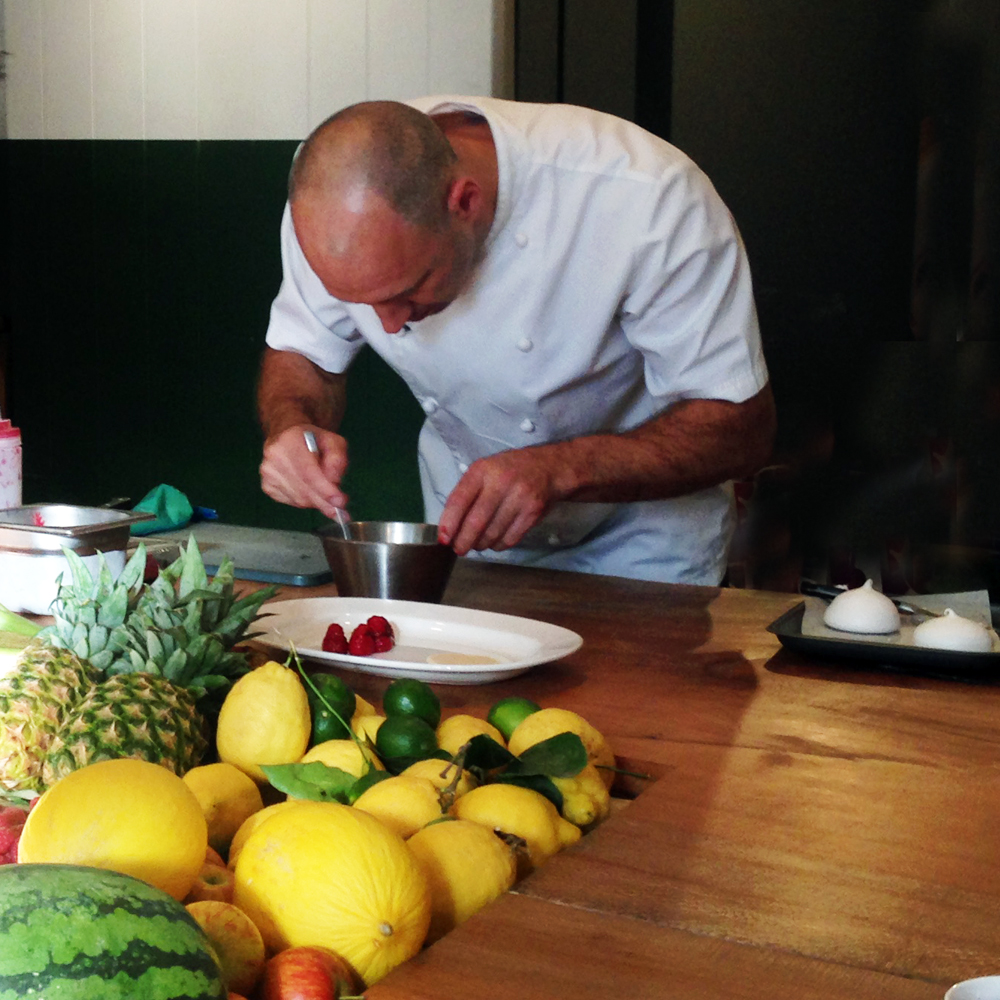 Chef Adam Gray making soft lemon meringue with raspberry salad