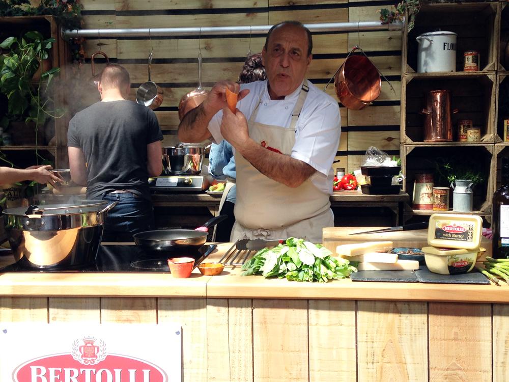 Gennaro Contaldo demonstrates the Bertollini: a new pasta shape from Bertolli