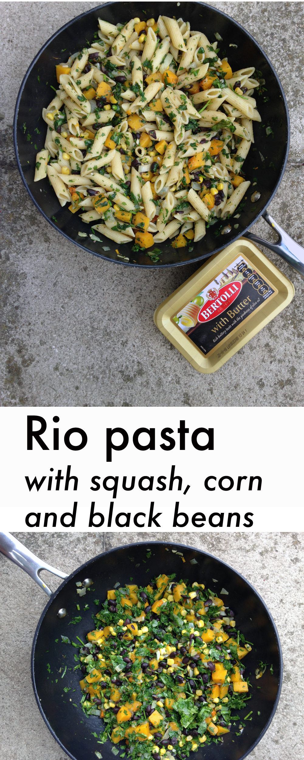 Rio pasta recipe with butternut squash, sweet corn and black beans. A delicious and simple vegetarian pasta dish to celebrate the Olympics