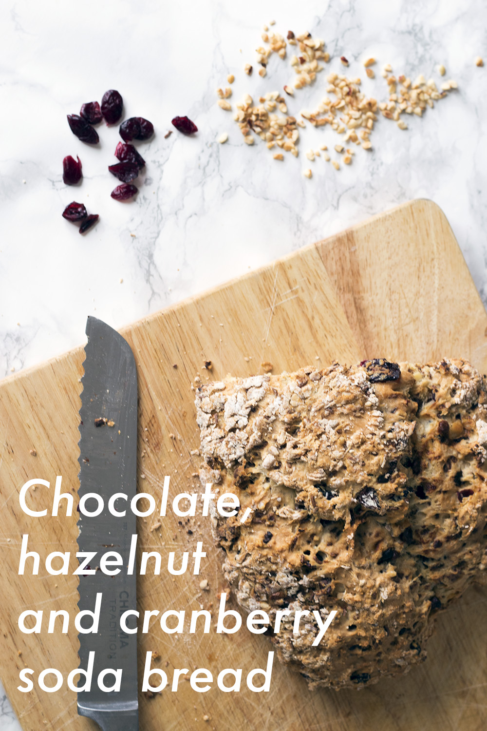 Chocolate, hazelnut and cranberry soda bread recipe