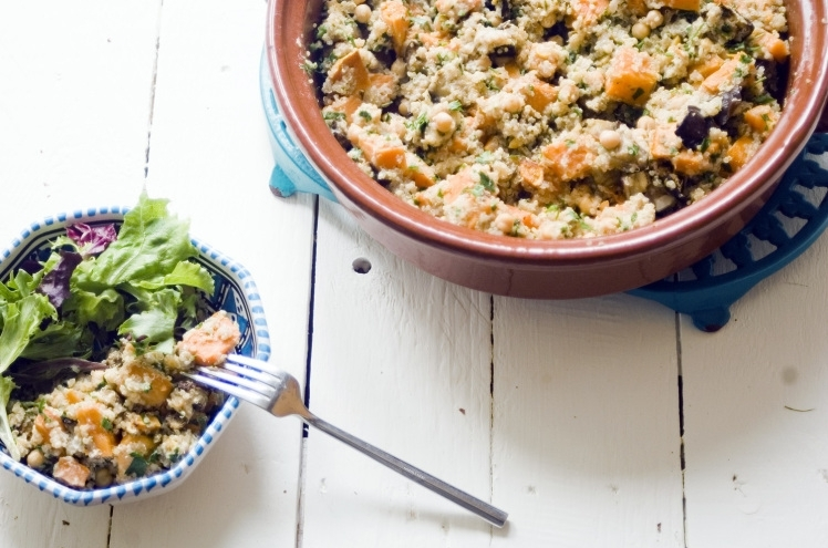 Sweet potato, aubergine and quinoa salad with a tahini dressing for metro.co.uk