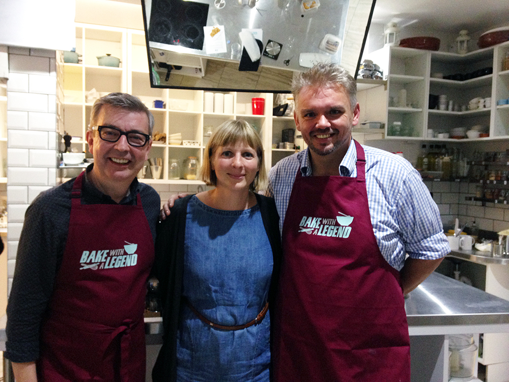 Me with Glenn Cosby and Howard Middleton at the Bake With A Legend launch. By this point it was quite late and I was regretting my choice of prosecco, popcorn and chocolate eclairs for dinner!