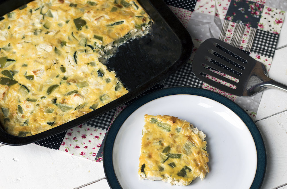 Courgette, mint and feta fritatta