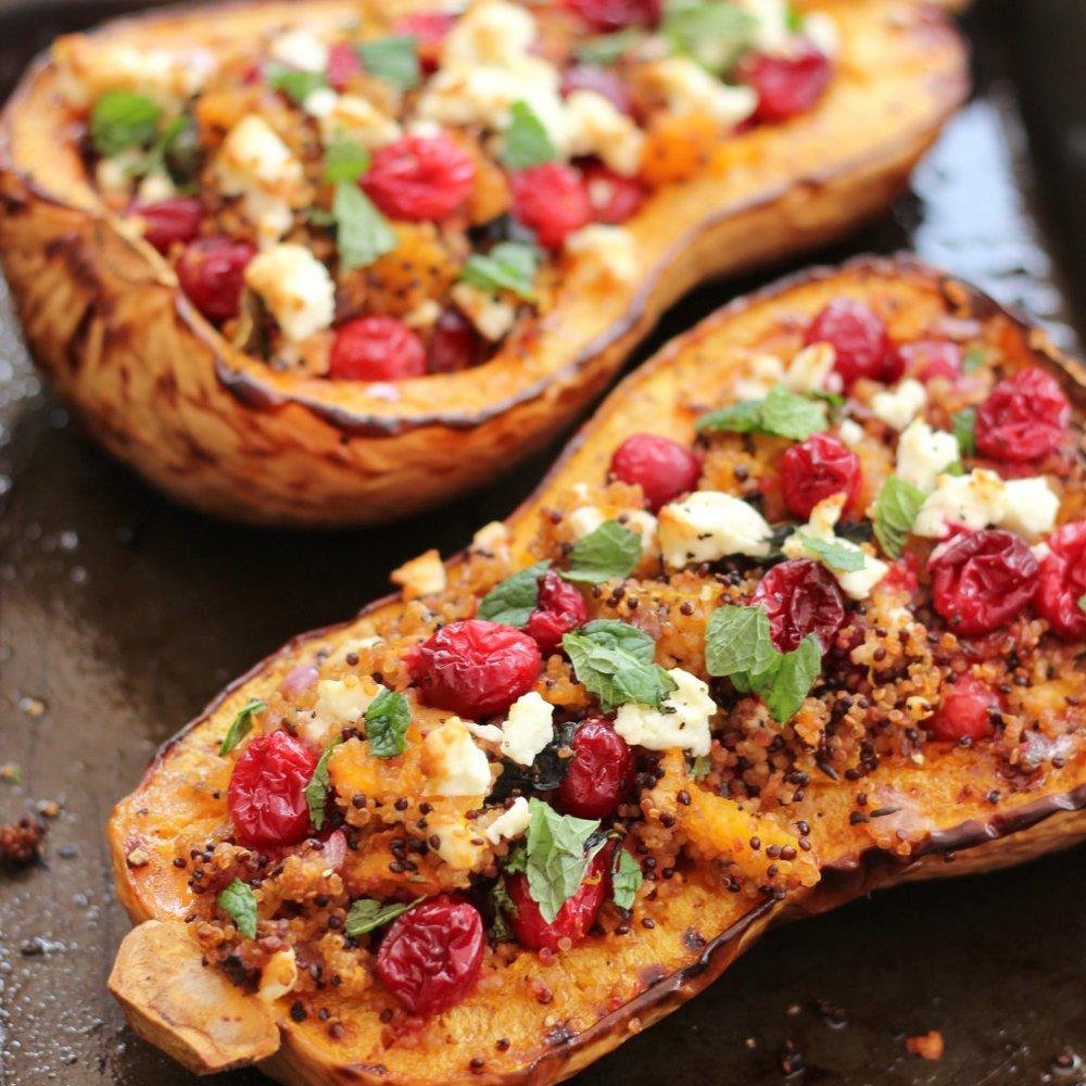 cranberry-feta-quinoa-stuffed-butternut-squash-vegetarian-christmas-main