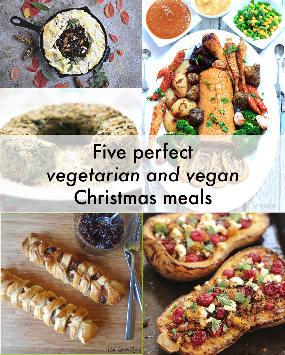 five recipes for a perfect vegetarian and vegan christmas main meals