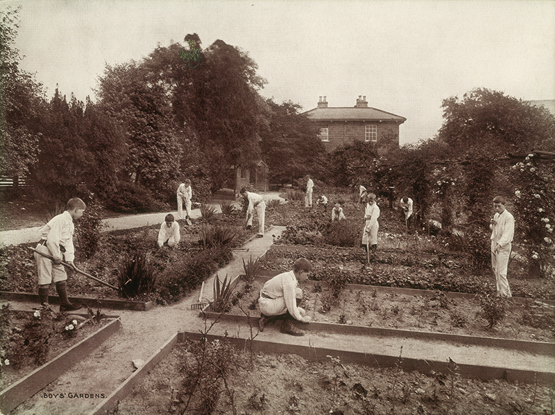 Boys in the kitchen garden at the Foundling Hospital, London © Coram in the care of the Foundling Museum