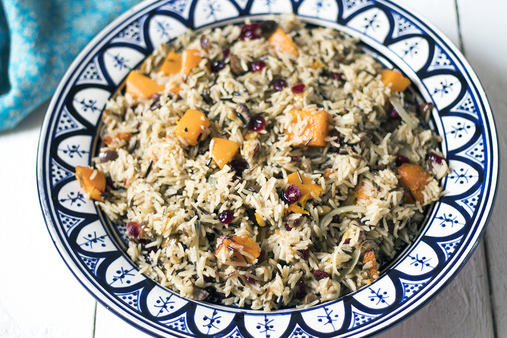 Vegan-wild-rice-pilaf-butternut-squash-cranberry-chestnut