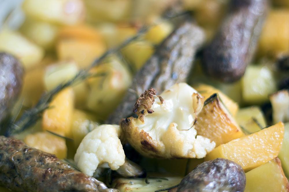 Vegetarian-sausage-potato-swede-cauliflower-traybake