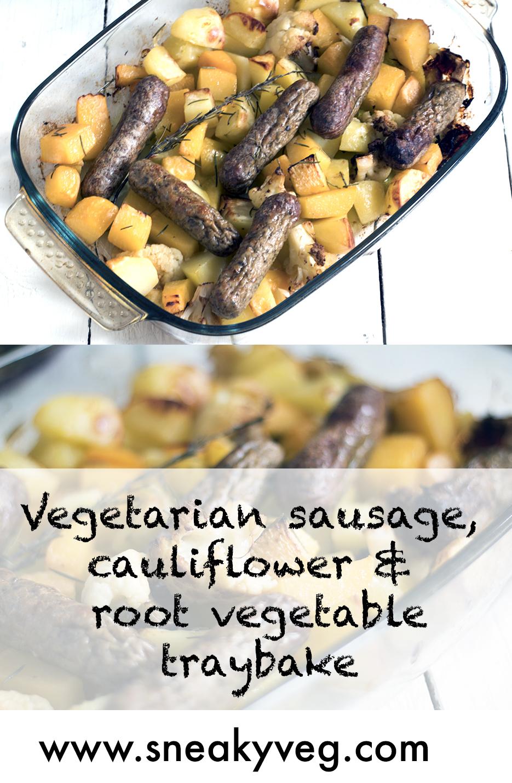 Vegetarian-sausage-and-root-veg-traybake-recipe