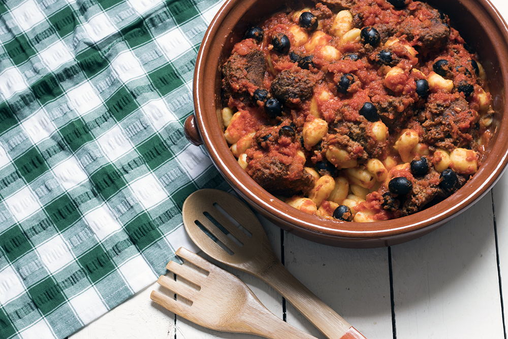 Vegetarian-aubergine-meatballs-gnocchi-tomato-sauce-olives