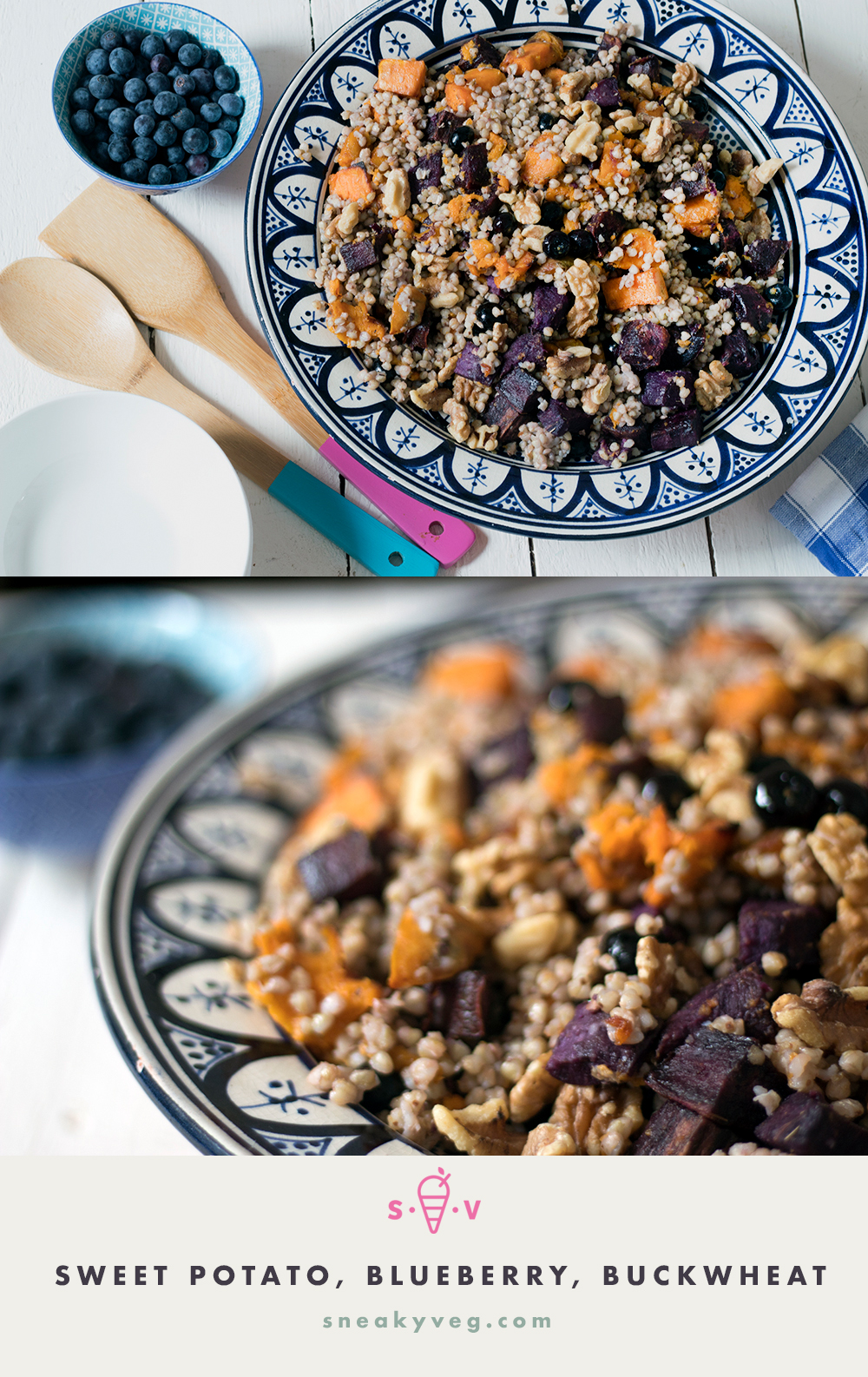 Roasted sweet potato salad with blueberries, buckwheat and toasted walnuts