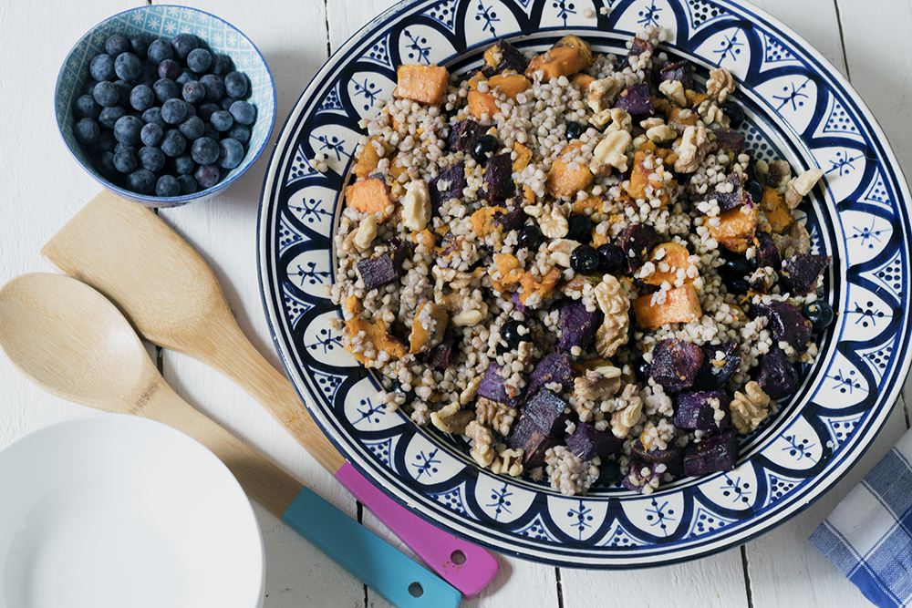 Sweet potato, blueberry and buckwheat salad recipe with toasted walnuts