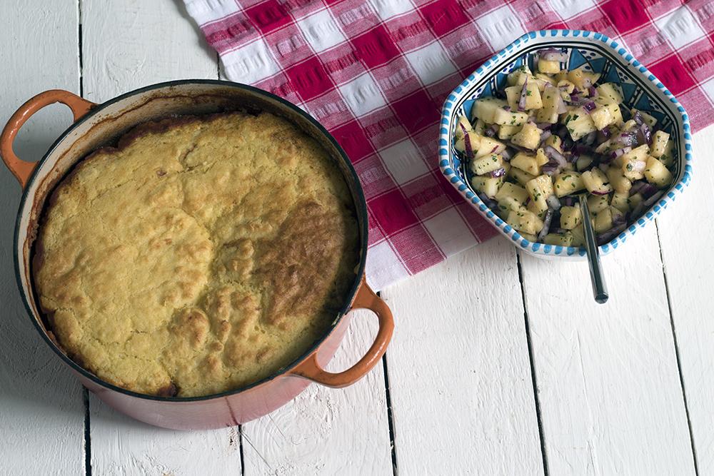 Veggie-chilli-with-cornbread-crust-pineapple-salsa-vegetarian-recipe